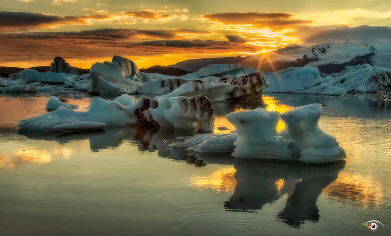 Sunset over icebergs in Iceland