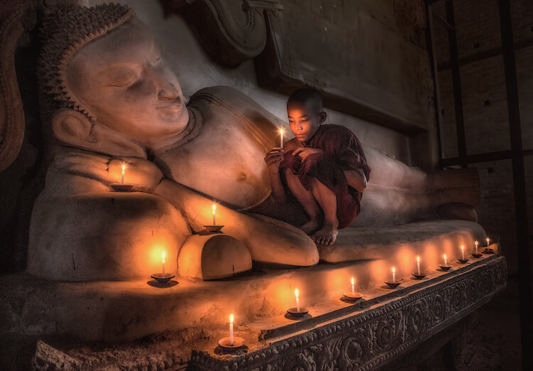 Boy at a temple in Began, Myanmar by Rick Sammon.