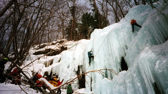 Wilderness areas are increasingly being used for adventure sports, such as ice climbing on frozen waterfalls. ©Fort Carson, flickr