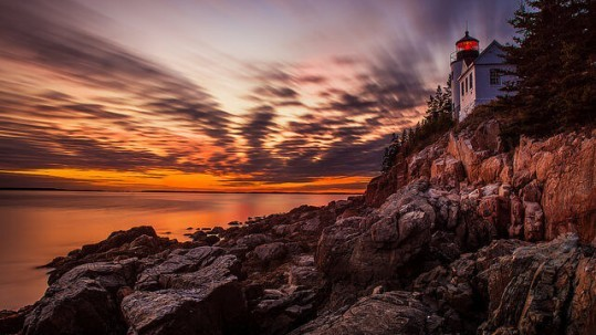 Sunset at Bass Harbor Head Light in Acadia National Park by Tom Bricker is licensed by CC BY-NC-ND 2.0.