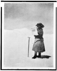 Fanny Bullock Workman standing on Silver Throne plateau, Karakoram, Kashmir, Asia. (Library of Congress)
