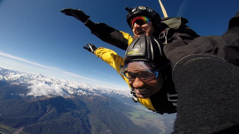 Skydiving over Foz and Franz glaciers, New Zealand