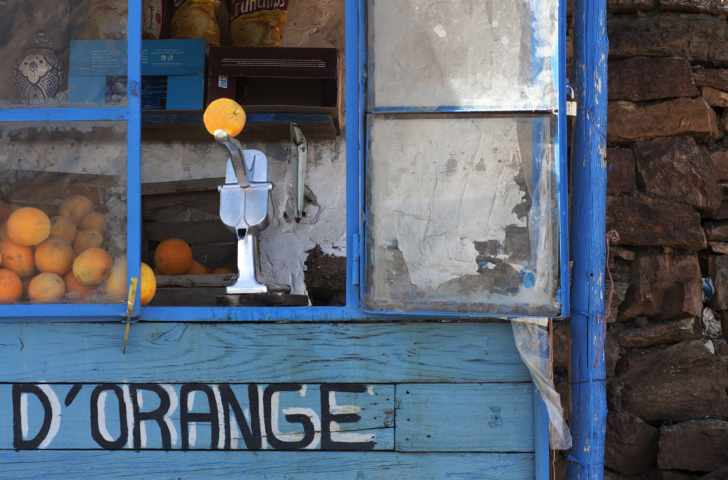 orange juice stall in Atlas Mountains, Morocco