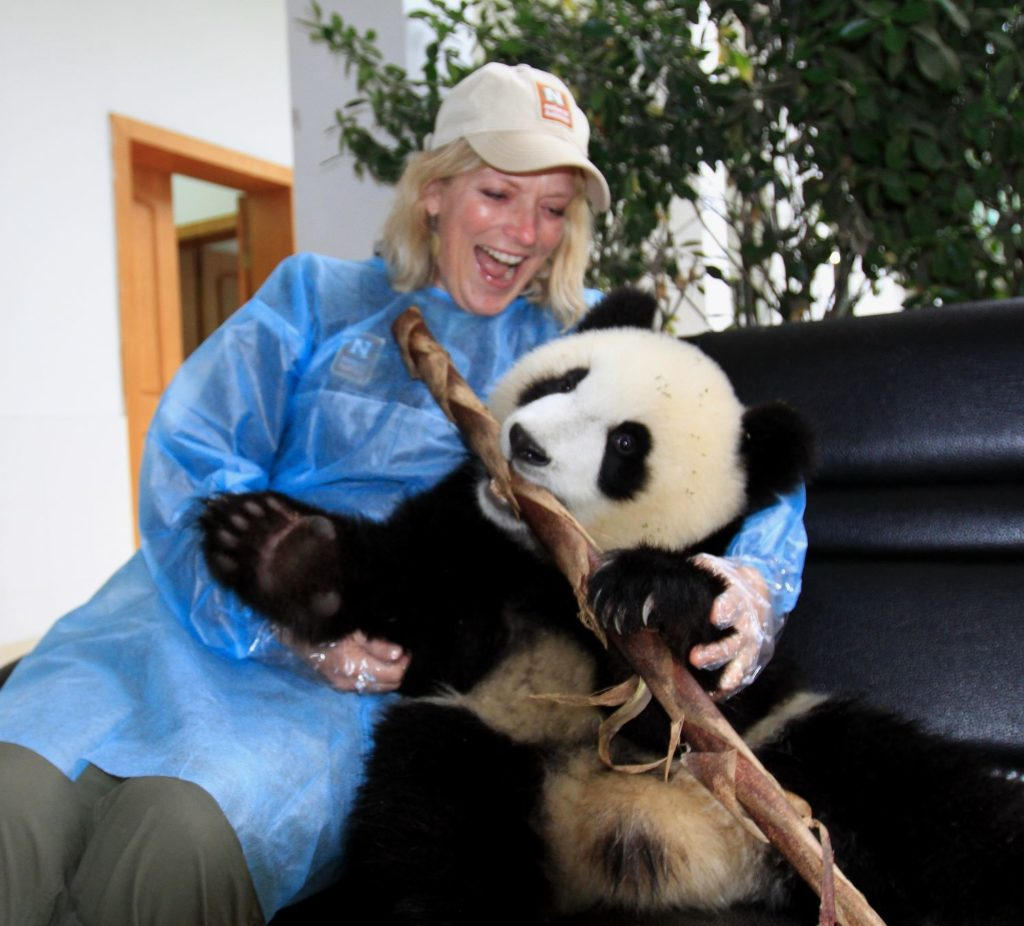 Wendy Redal with giant panda