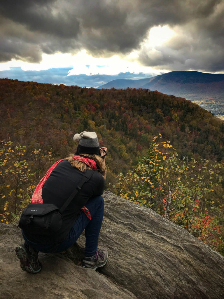 Sabine Bergmann photographing landscapes from Prospect Rock, Vermont by Denise Filakosky