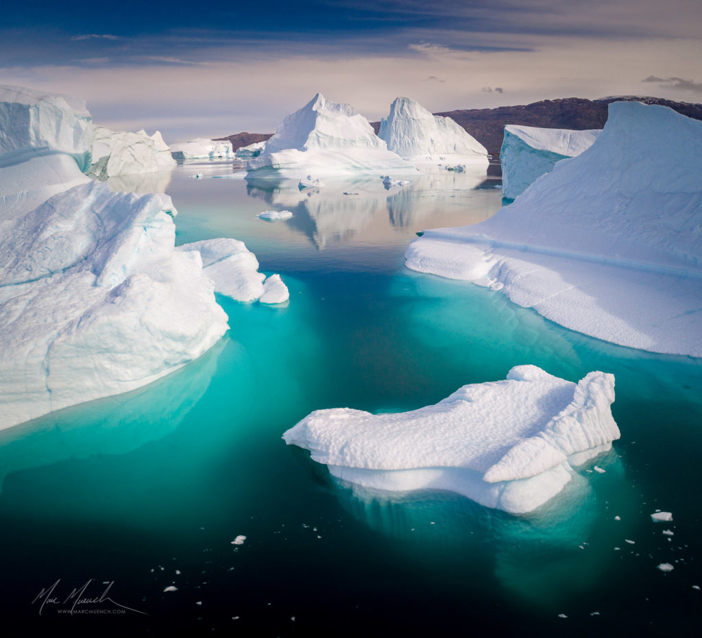icebergs in Greenland, by Marc Muench
